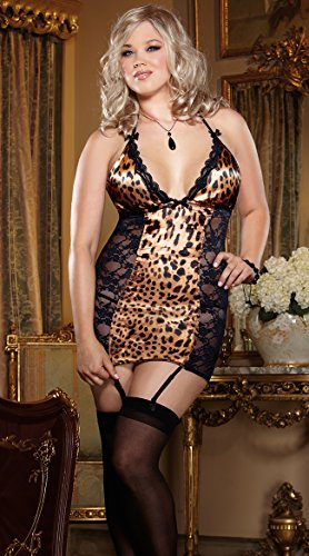 Dreamgirl Women's Queen Size Kittylisious Garter Slip, Leopard, One Size