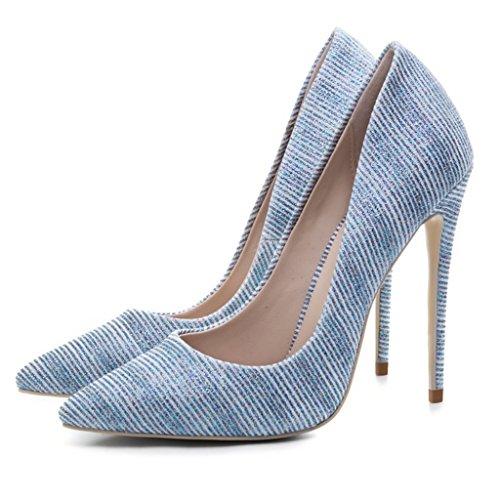 Girl Punta Nozze Della Tacchi Pattini Blu Di Singoli Donna 45 Poco Fashion Sandali A Banchetto Blu Alti Profonda vq8Owf5
