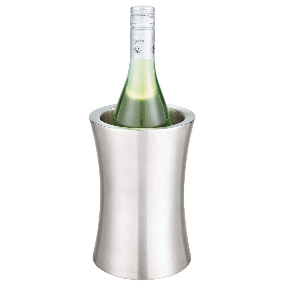 mDesign Modern Metal Wine Bottle Cooler/Chiller Bucket - Double Wall Insulated Stainless Steel - No Ice Needed - Curved Profile, Brushed Finish