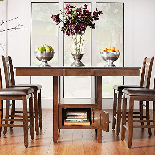 Inspire Q Marsden Brown Mission Extending Counter Ight Dining Table by Classic