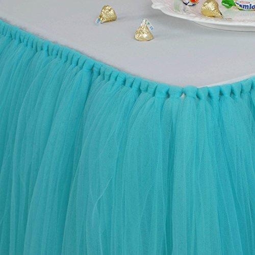Vlovelife 100cm Turquoise Blue Tulle Tutu Table Skirt