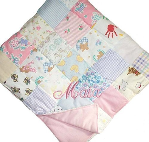 Custom Embroidered, Personalized, Cotton Flannel Patchwork Quilt by Initial  Impressions