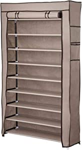 "Yescom 10 Tier Shoe Rack Shelf Closet 45 Pair with Cover 5/8"" Metal Tube Non-Woven Fabric Storage Organizer Brown"