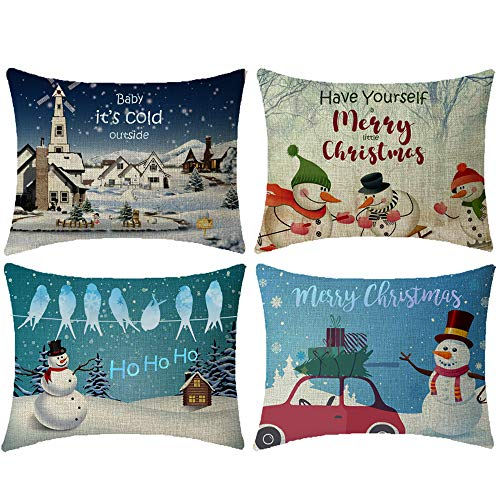 NIDITW Set of 4 Merry Christmas Ho Ho Ho Have Yourself a Merry Little Christmas Snowman Snow Scenery Red Truck Burlap Decorative Rectangle Pillow Case Pillowcase Cushion Covers for Sofa 12x20 Inches (Have Yourself A Merry Little Christmas Notes)