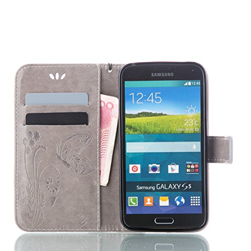 Ultra Slim Case para Galaxy S5/S5 NEO Funda Libro Suave PU Leather Cuero- Sunroyal ® Bookstyle Cobertura Wallet Case Con Flip Cover Cierre Magnético,Función de Soporte Billetera con Tapa para Tarjetas Gris