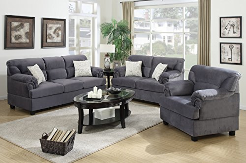 3-Pcs Sofa Set Upholstered Grey Colored Microfiber