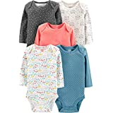Simple Joys by Carter's Girls' 5-Pack Long-Sleeve Bodysuit, Dots/Owl/Print, 12 Months