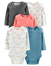 Simple Joys by Carter's Baby Girls - Body de Manga Larga, 5 Unidades