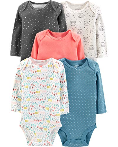 Simple Joys by Carter's Girls' 5-Pack Long-Sleeve Bodysuit, Dots/Owl/Print, 18 Months
