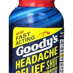 Headache Relief 2 Fl Oz Goody\'s Shot 9 Pack Berry Acetaminophen Caffeine Long Lasting Reliever