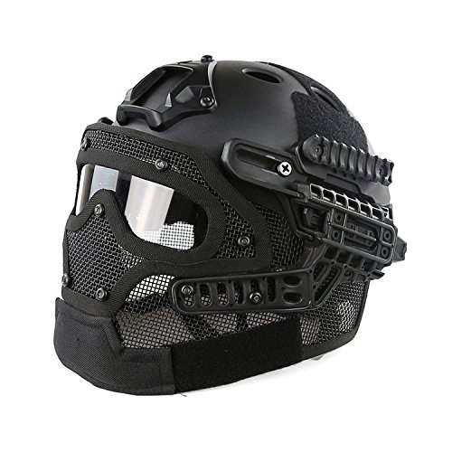 H World Shopping Tactical Protective Helmet Full Face Mask Googgles G4 System Airsoft Paintball Solid Color (Black) by H World Shopping