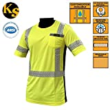 KwikSafety Class 3 High Vis Reflective Short Sleeve Moisture Wicking ANSI Safety Shirt, UV Protection, Breathable, FishBone Reflective Trim & Pocket, Meets ANSI/ISEA 107-2010 Class 3 Yellow, Size XL