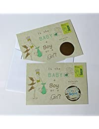 Gender Reveal Vintage Stork Sex Scratch Off Postcards & Envelopes - Qty. 25 (Blue~ Boy) BOBEBE Online Baby Store From New York to Miami and Los Angeles