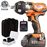 4Ah Battery Impact Wrench 1/2' Cordless Impact Wrench 20V Portable Compact Impact Gun with 4Pcs Sockets, Carry Bag, 4A Li-ion Battery and Fast Charger, Dobetter-DBCIW2040