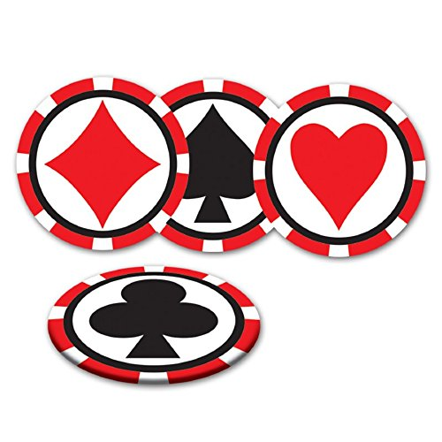 (Beistle Club Pack Casino Night Card Suit on Poker Chip Drink Coasters, Box of 96 Coasters)