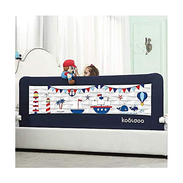 59 Inches Toddler Bed Rail Fold Down Safety Baby Bed Guard with NBR Foam Including 1 Pc Safety Strap by KOOLDOO (Blue) 1