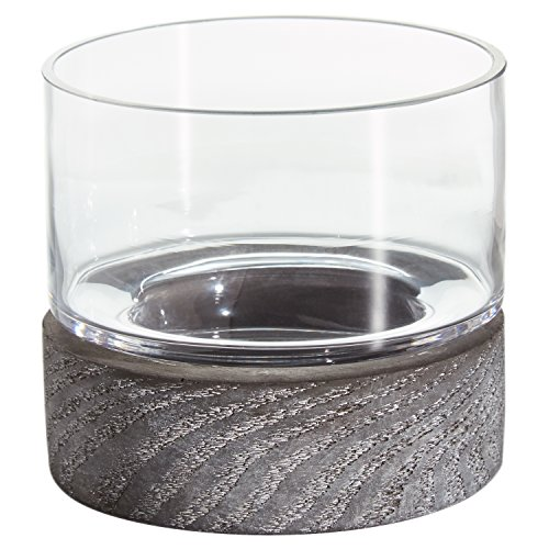 Rivet Mid Century Modern Concrete and Glass Decor Candle Holder - 4 Inch, Grey