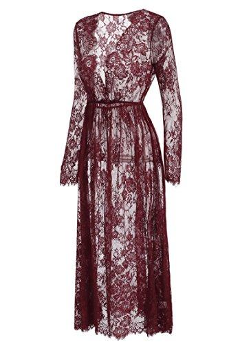 Keland Mujeres Bata Larga Encaje de Flores con Escote Pico y Cintura Elástica, Pijama Larga de Verano Rojo