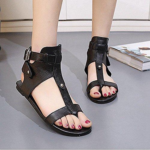 Damesmode Zwart Lederen Gladiator Zomer Romeinse Platte Sandalen Zwart