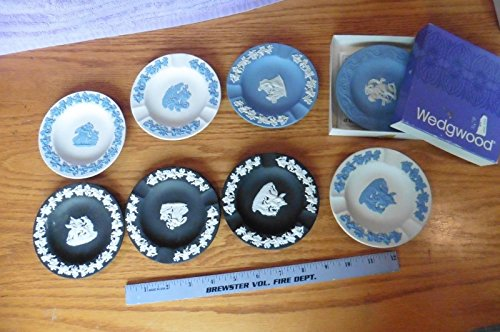 LOT of 8 Vintage WEDGWOOD JASPERWARE Neoclassical RELIEF trinket ash tray round