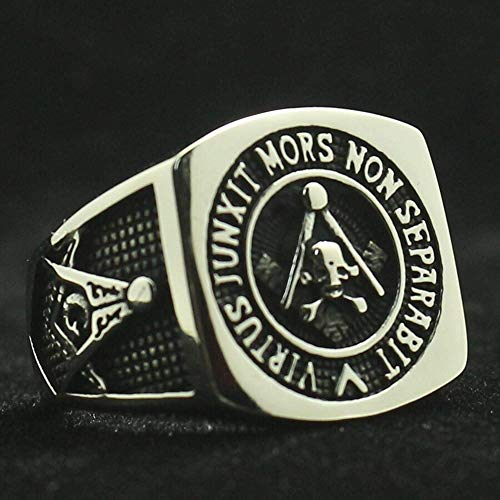 Ring Men Handmade 316L Stainless Steel - Freemason Rings For Men Cross Eagle Square and Compasse - Masonry Ring Unique Special Jewelry Gift For - Onyx Black Masonic Masons