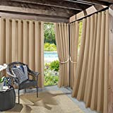 Sun Zero Beacon Woven Indoor/Outdoor UV Protectant Grommet Curtain Panel, 52' x 95', Linen