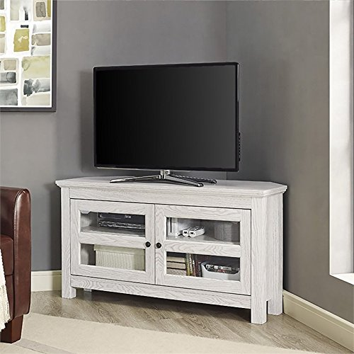Pemberly Row 44 Corner TV Stand in White Wash
