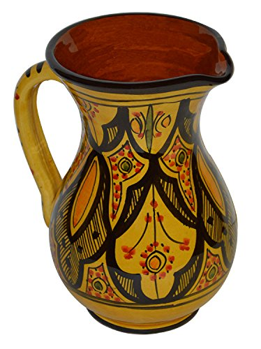 Moroccan Pitchers Sangria Handmade Ceramic Carafe Beverage Dispenser Jar Cooler Easy Pour 58 Oz Large ()
