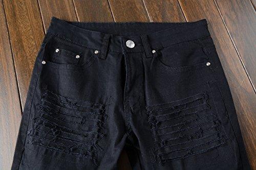 Men's Vintage Distressed Ripped Biker Moto Denim Pants Slim Fit Zipper Jeans