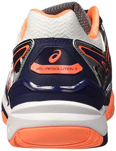 Asics Gel-Resolution 7 L.e.Melbourne, Zapatillas de Tenis para Hombre Blanco (White/indigo Blue/hot Orange)
