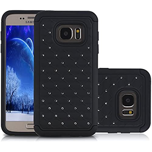 Samsung Galaxy S7 Edge Case, Laxier(TM) Premium Lightweight Slim Fit Cover with Rhinestone Hard Shell Silicone Protective Case for Galaxy S 7 Edge (Black) Sales
