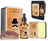 QQwow Beard Kit Best for Mens Grooming and Beard Care,Elegant Gift Set Includes Beard Oil 60ml,Beard Balm 2.82oz,Wooden Comb, 100% Natural Ingredients, Leave-in Conditioner and Softener