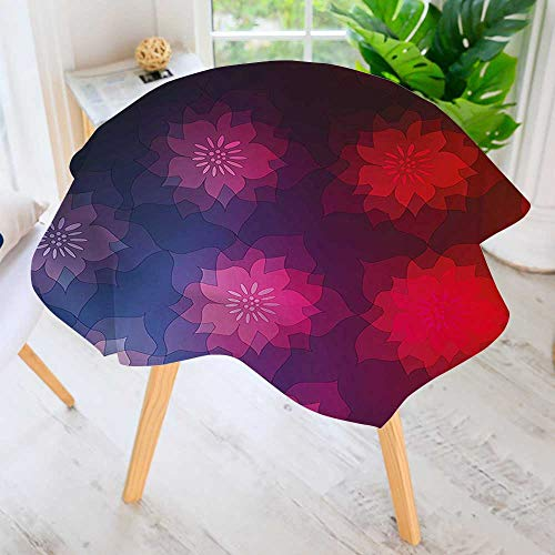 UHOO2018 Easy-Care Cloth Tablecloth Round-Colored Ombre Design with Floral Flower Detailed Image Purple Blue Red and Hot Great for Buffet Table, Parties, Holiday Dinner & More 43.5