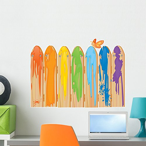 Wallmonkeys Fence Dripping Paint Rainbow Wall Decal Peel and Stick Decals for Girls (24 in W x 18 in H) WM418517