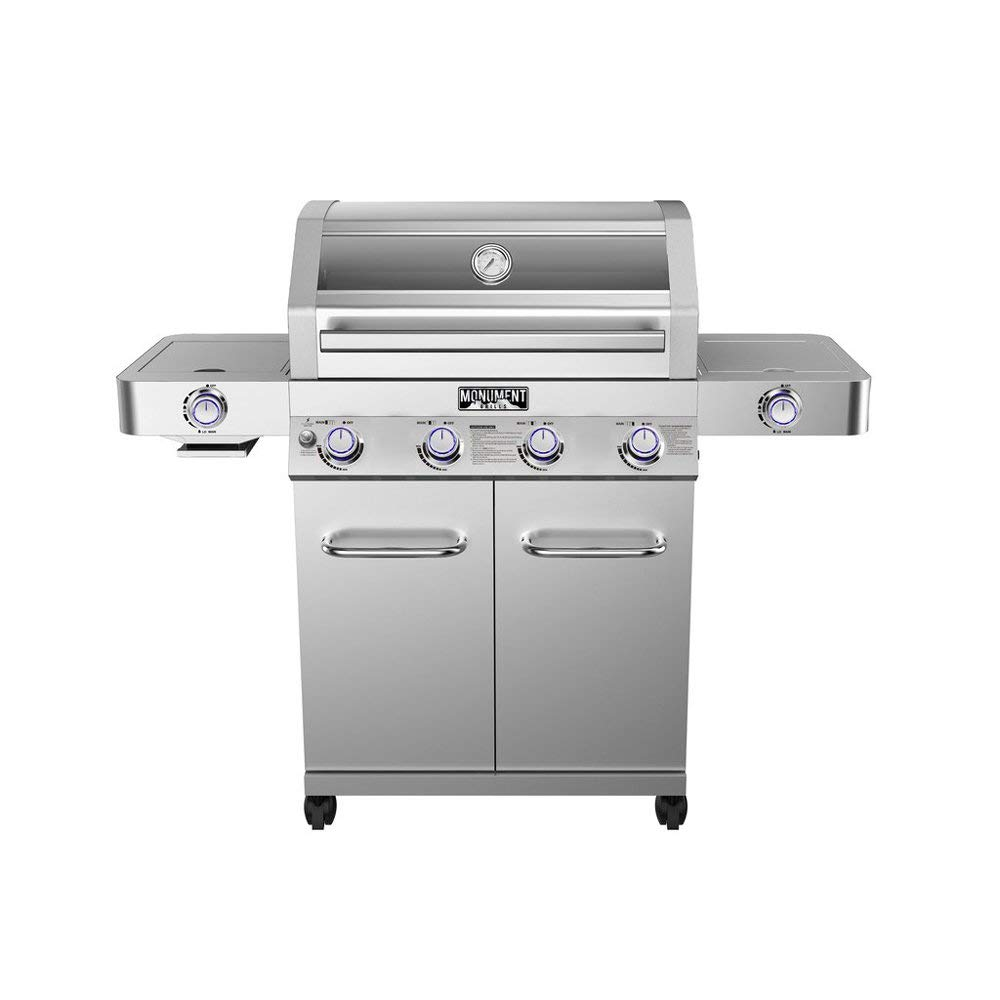 Monument Grills Clearview Lid 4 Burner with Side Sear Burner Propane Gas Grill by Monument Grills
