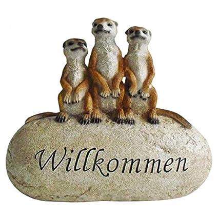 Drei Erdmännchen Stein WILLKOMMEN Gartendeko Dekoration Figur Dekostein NEU