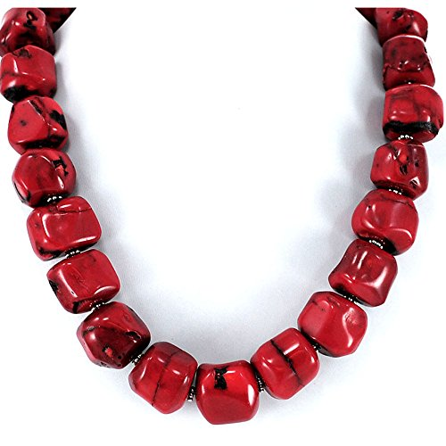 Bamboo Coral Nugget Beads Necklace with Silver Tone Toggle Clasp 19
