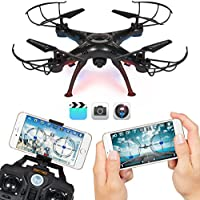 Best Choice Products 4-Channel 2.4G 6-Axis Gyro RC Headless Quadcopter Drone w/Wifi Camera, Real Time Video - Black