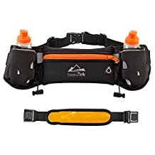MiraTekk Hydration Running Belt With Water Bottles:#1 Best Recommended Running Fuel Belt For Men And Women Perfect for Marathons, Hiking-Pockets Fits iPhones6/6SPlus & Free LED Safety Armband (Orange)