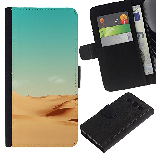 Funny Phone Case // Leather Wallet Protective Case with Slots for Money & Cards fit Samsung Galaxy S3 III I9300 /Minimalist Desert Scenery/