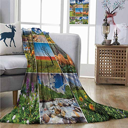 Mountain Wool Knitting Yarn - Degrees of Comfort Weighted Blanket Summer Collage with Summer Scenery Majestic Mountains Waterfalls High Lands Environment Full Blanket W60 xL91 Multicolor
