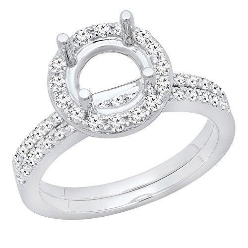 0.55 Carat (ctw) 14K White Gold Round Diamond Semi Mount Bridal Wedding Ring Set 1/2 CT (Size 6)