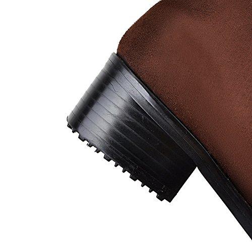con sin con con cerrado mujer cerrada punta puntera cordones cierre Botas baja Allhqfashion para de marrón color RY5Xq