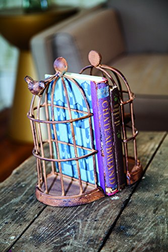 Cage End (MW Iron Bird Cage Bookend Set of2 5.25X3.25X9.75)