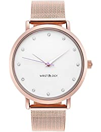 WRISTOLOGY Olivia Womens Crystal Rose Gold Boyfriend Watch Metal Mesh Strap