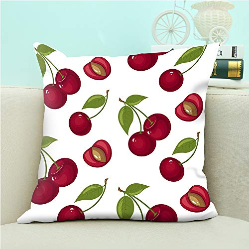 """oFloral Cherry Pillow Case Sweet Red Ripe Cherries Throw Pillow Cover Square Cushion Case for Sofa Couch Car Bedroom Living Room Decor 18"""" x 18"""" inch"""