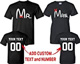 CRAZYDAISYWORLD Old Mr and Mrs Pattern Customized Text Name Design Couple T Shirt Size Men XXL Women XL