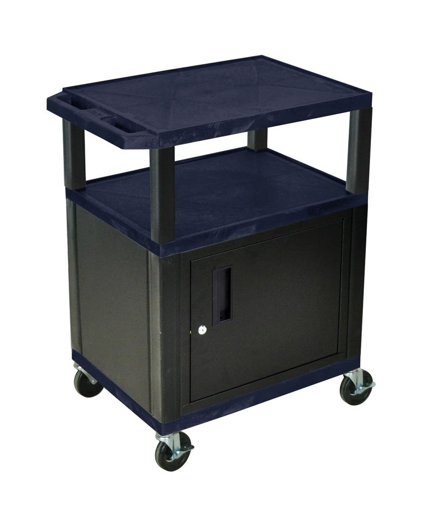 Luxor WT34ZC2E-B - 34'' AV Utility Cart with 3 Shelves and Cabinet- Black Legs by Luxor