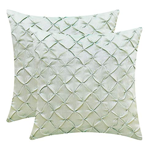 The White Petals Sage Green Decorative Pillow Covers (Faux Silk, Pinch Pleat, 18x18 inch, Pack of 2)