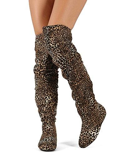RF RAUM DER MODE Trend-Hi Over-the-Knee Oberschenkel hohe flache Slouchy Welle Low Heel Stiefel Premium Leopard Wildleder